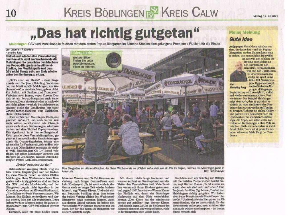 Pop-Up Biergarten GSV Maichingen und MKM
